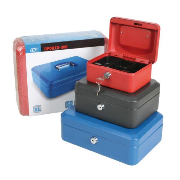 Caja caudales con bandeja. Rojo..25x18xh9  cm.